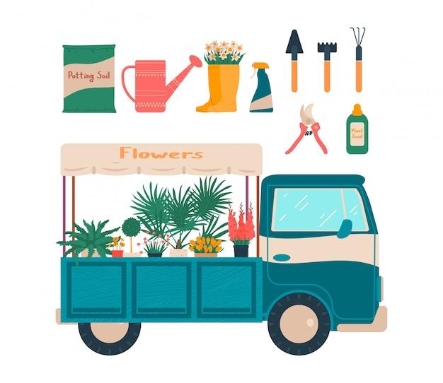 Tuinhulpmiddel voor de illustratiereeks van de huisinstallatie, mobiele de bloemenwinkel van het beeldverhaal, punten voor het tuinieren hand getrokken pictogrammen op wit