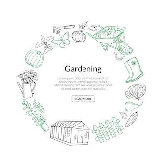 Tuinieren banner doodle pictogrammen in cirkelvorm