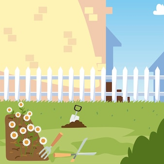 Tuinieren, bloemen bed troffel struik gras en hek tuin illustratie