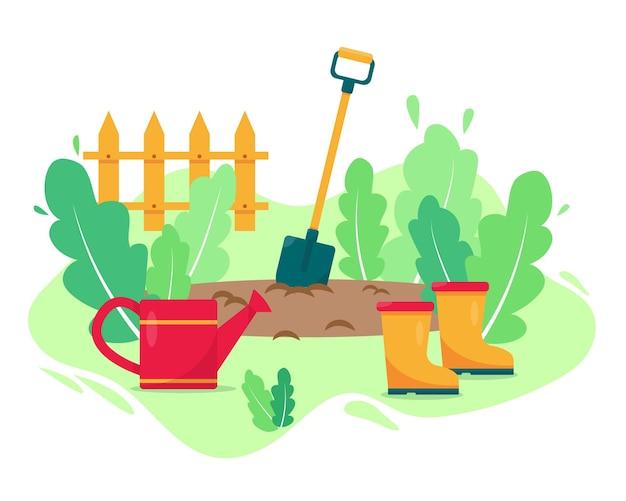 Tuinieren concept met gieter, schop, laarzen en planten.
