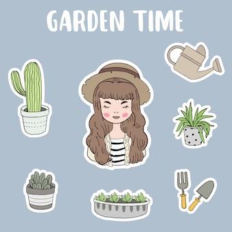 Tuinieren concept met vrouw
