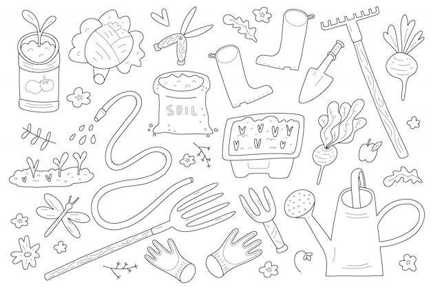 Tuinieren doodle illustraties set