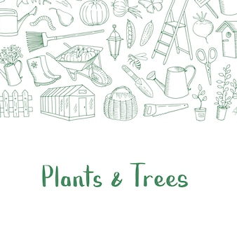Tuinieren doodle pictogrammen