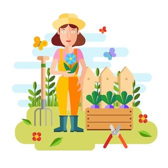 Tuinieren en tuinbouw, hobbygereedschap, groentekist en planten.