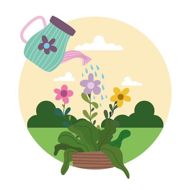 Tuinieren gieter spuit water aan bloemen in potillustratie