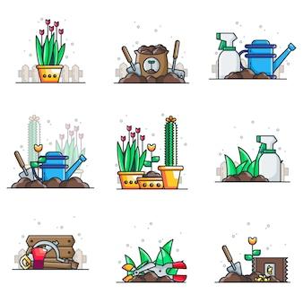 Tuinieren illustraties pack
