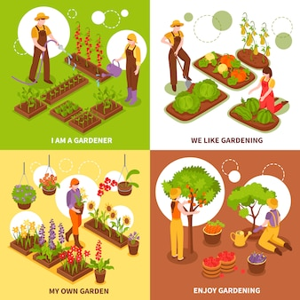 Tuinieren isometrische concept set