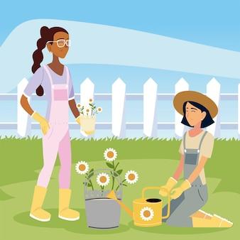 Tuinieren, jonge vrouw gieter bloemen madeliefjes illustratie