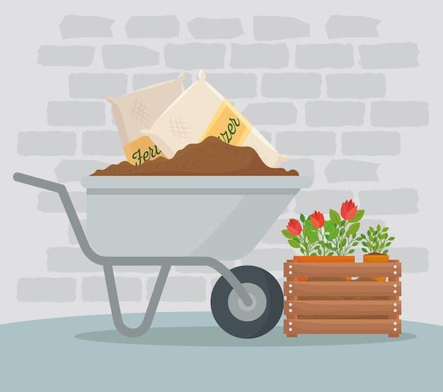 Tuinieren kruiwagen kunstmestzakken en bloemenontwerp, tuinbeplanting en natuur