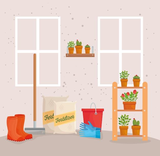 Tuinieren kunstmest zakken laarzen hark emmer handschoenen en planten ontwerp, tuinbeplanting en natuur