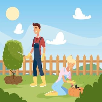 Tuinieren, man en vrouw werken met een schaar en oogst pompoen illustratie