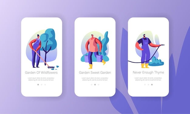 Tuinieren mensen concept voor website of webpagina, tekens groeien en verzorgen van planten in de tuin, zomertijd seizoensgebonden hobby mobiele app-pagina aan boord scherm instellen cartoon platte vectorillustratie