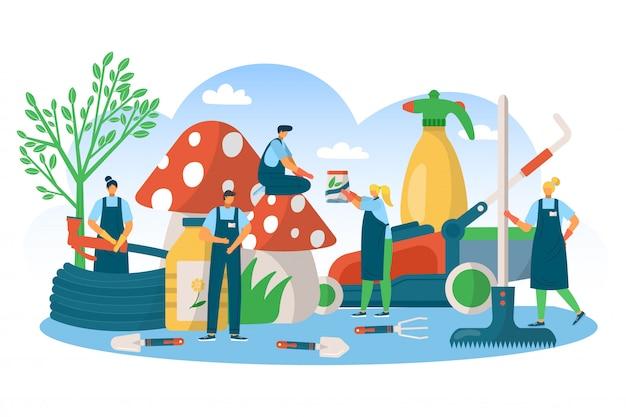 Tuinieren natuur plant tool concept, illustratie. groen zomertuinblad, landbouwwerk, drenken met apparatuurconcept. man vrouw mensen karakter hebben biologische boerderijhobby.