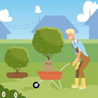 Tuinieren, oude man tuinman met kruiwagen en boom voor het planten van illustratie