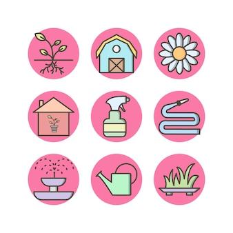 Tuinieren pictogrammen
