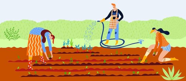 Tuinieren plant op natuur vector illustratie platte man vrouw karakter werk in tuin transplantatie groene landbouw element in de grond