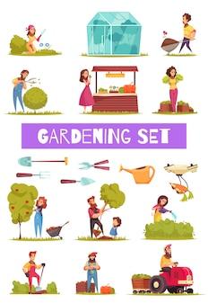 Tuinieren set cartoon pictogrammen boeren met werkgereedschap en apparatuur tijdens verschillende activiteiten