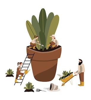 Tuinieren tijd bij broeikasgassen met planten groeien in potten.
