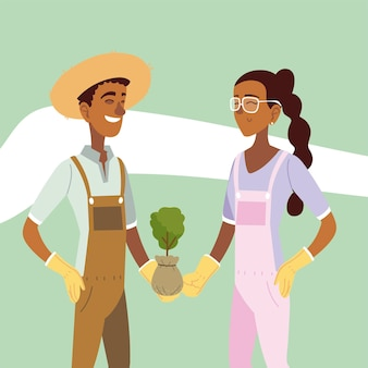 Tuinieren, tuinman paar bedrijf plant in zak illustratie