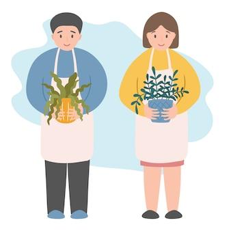 Tuinieren van het huis man en vrouw met bloempotten