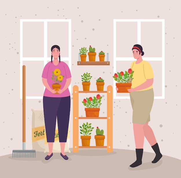 Tuinieren vrouwen met planten kunstmestzakken en harkontwerp, tuinbeplanting en natuur
