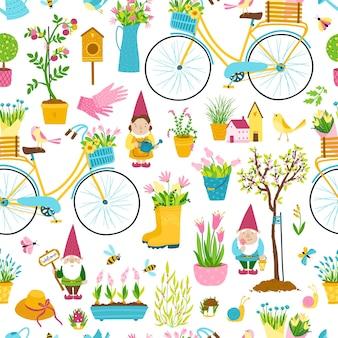 Tuinkabouters naadloze patroon. een verzameling van drie schattige sprookjesachtige stripfiguren met paddenstoelen en potten met bloemen om de tuin, de moestuin te versieren