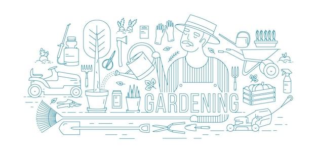 Tuinman drenken boom groeit in pot omringd door tuinieren en landbouwmachines, gereedschappen, tuinplanten getekend met blauwe contourlijnen op witte achtergrond.