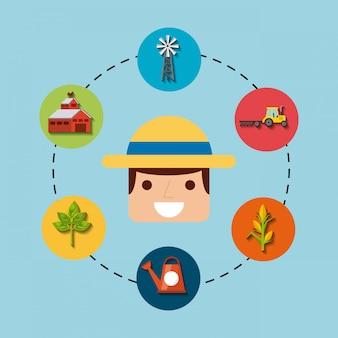 Tuinman en tuinieren iconen ontwerp