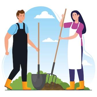 Tuinman en vrouw met hark en schopontwerp, tuinbeplanting en natuurthema