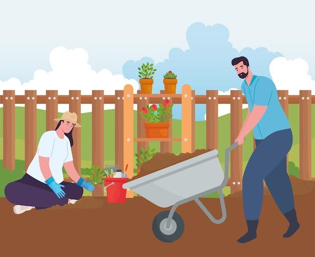 Tuinman en vrouw met kruiwagen en plantenontwerp, tuinbeplanting en natuur