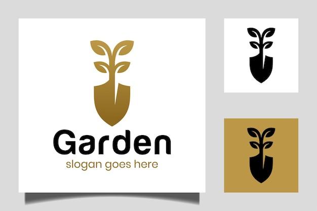 Tuinman logo ontwerp inspiratie vector sjabloon, gazon zorg, boer, eco gazon service met schop pictogram vector
