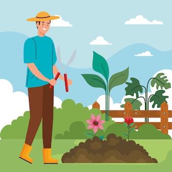 Tuinman met een tang en bloemenontwerp, tuinbeplanting en natuurthema