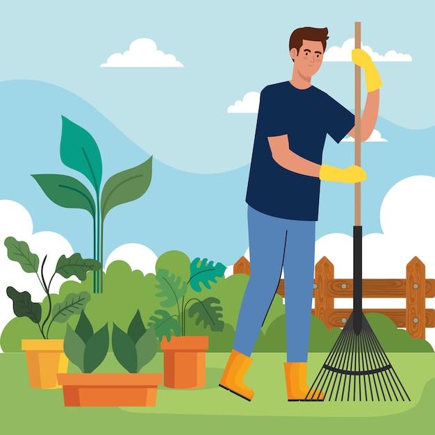 Tuinman met hark en planten in pottenontwerp, tuinbeplanting en natuurthema