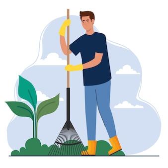 Tuinman met hark en plantontwerp, tuinbeplanting en natuurthema