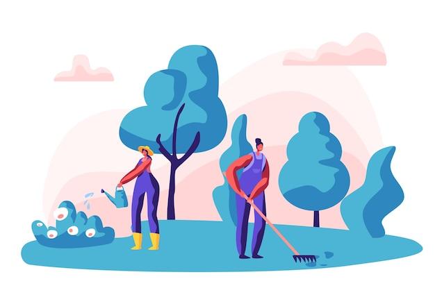 Tuinman vrouwelijk personage op het werk. vrouw aan het werk in de tuin bloemen water geven en planten met gereedschap verzorgen.
