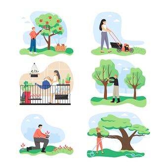 Tuinmannen die in de tuin werken, stripfiguur, platte geïsoleerde illustratie. tuin verzorging en onderhoud.