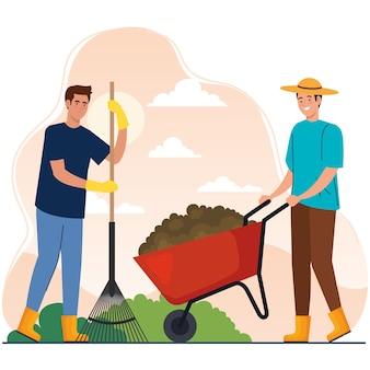 Tuinmannen met hark- en kruiwagenontwerp, tuinbeplanting en natuurthema