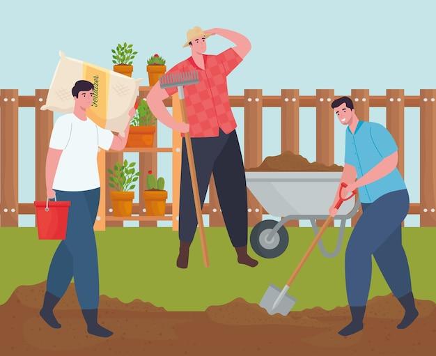 Tuinmannen met kruiwagen kunstmestzak hark en schop ontwerp, tuinbeplanting en natuur