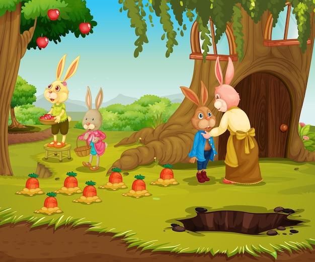 Tuinscène met het stripfiguur van de konijnenfamilie Gratis Vector