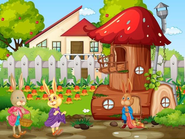 Tuinscène met veel konijnen stripfiguur cartoon