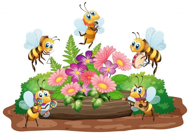 Tuinscène met vele bijen die op witte achtergrond vliegen