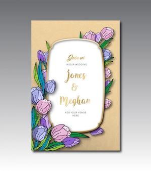 Tulip bloemen bruiloft kaartsjabloon