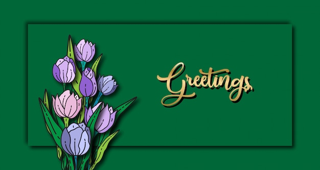 Tulip floral background banner template