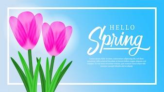 Tulp bloesem bloem met lucht voor de lente