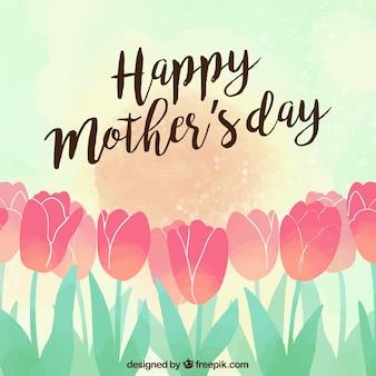 Tulpen achtergrond gelukkige moederdag