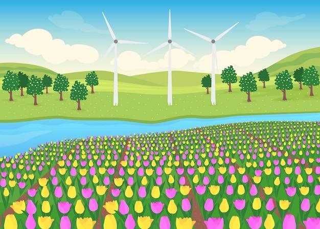 Tulpen veld egale kleur illustratie