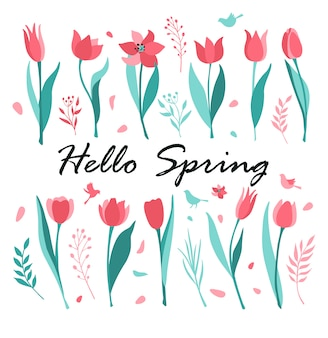 Tulpen vlakke afbeelding set. hallo lente