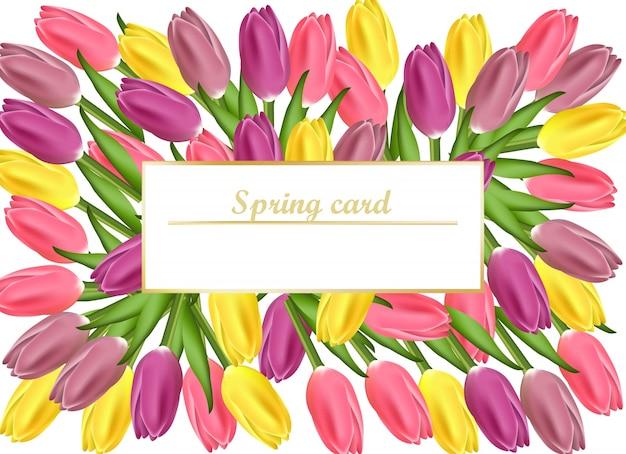 Tulpenkaart vector realistische bloemenillustratie voor vrouwendag, huwelijk, verjaardag