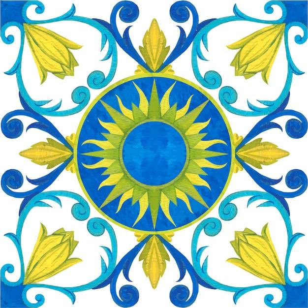 Tulpentegel, naadloos patroon. aquarel illustratie. mediterrane stijl.