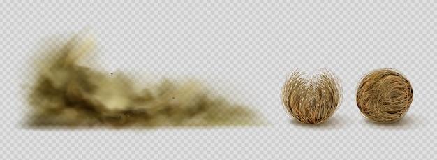 Tumbleweeds en zandstormwolk en twijgen in de vorm van ballen op transparant